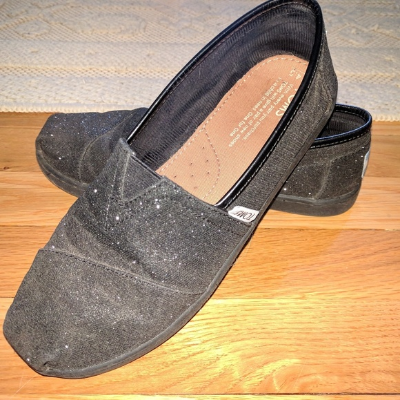 Toms Shoes | Black Sparkly Toms | Poshmark